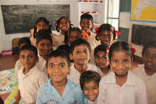 Children at the primary school in Melmayil village, Vellore, Tamil Nadu