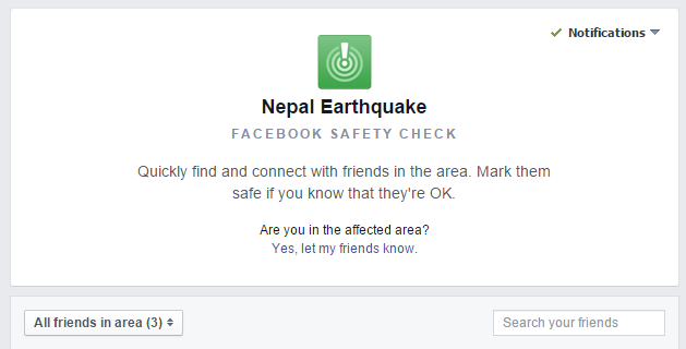 Facebook Safety Check for Nepal Earthquake