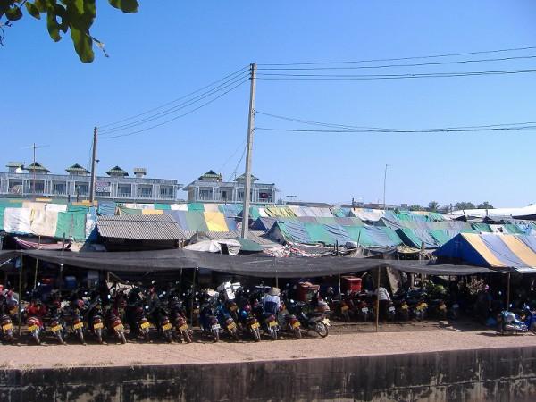 Many bikes near a marcket
