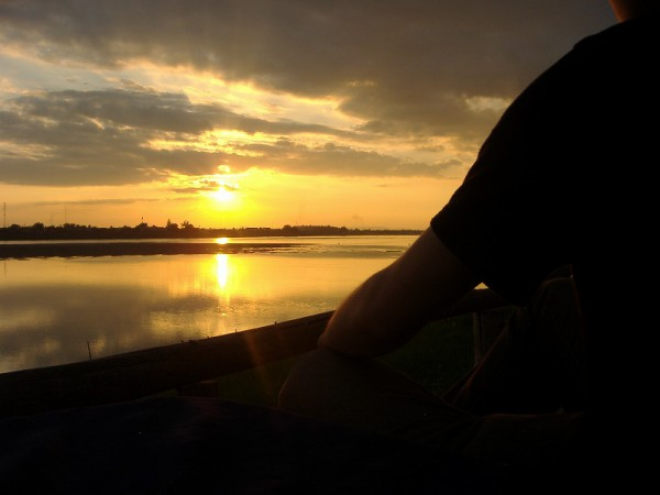 Sunset over the Mekong River and me
