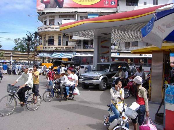 Our bus crashing in Phnom Penh