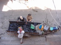 A charcoal seller in Phnom Penh