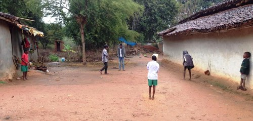 Barely 100 metres away from that girl washing utensils, these boys playing gully cricket in the same village. I have hardly ever came across girls playing or running around
